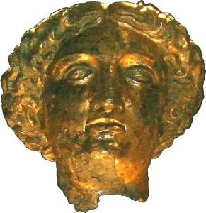 bronze head of Sulis Minerva now in the Roman Baths (Bath)