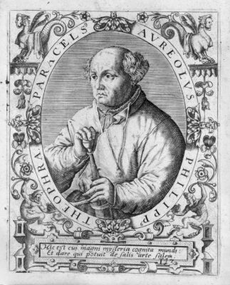 L0014988 Portrait of Paracelsus. Credit: Wellcome Library, London. Wellcome Images images@wellcome.ac.uk http://wellcomeimages.org Portrait of Paracelsus, half-length holding sword, in oval, with grotesque surround. For J.J. Boissard, Icones et effigies, 1645. Engraving Published: - Copyrighted work available under Creative Commons Attribution only licence CC BY 4.0 http://creativecommons.org/licenses/by/4.0/
