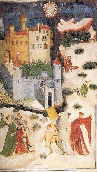 Venceslao (böhmischer Meister): Januar (mit Schneeballschlacht). Um 1400. Fresko im Torre dell'Aquila, Schloss Buonconsiglio, Trient, Italien